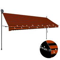 vidaXL Manuell uttrekkbar markise med LED 400 cm oransje og brun