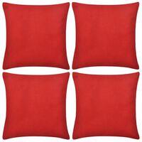 4 Røde putetrekk, bomull 40 x 40 cm