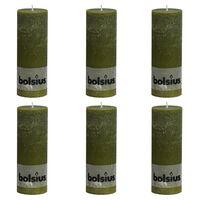 Bolsius Rustikke søylelys 6 stk 190x68 mm oliven