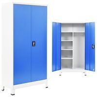 vidaXL Garderobeskap med 2 dører metall 90x40x180 cm grå og blå