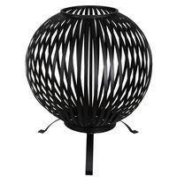 Esschert Design Bålkurv ball striper svart karbonstål FF400