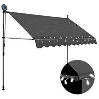 vidaXL Manuell uttrekkbar markise med LED 300 cm antrasitt