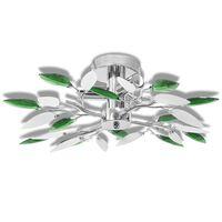 Taklampe med Hvit og Grønn Akryl Crystal Armer - 3 E14 Pærer