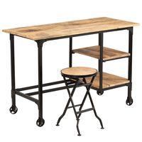 vidaXL Skrivebord med sammenleggbar krakk heltre mango 115x50x76 cm