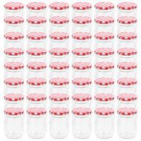 vidaXL Syltetøyglass med hvite og røde lokk 48 stk 230 ml