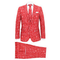 vidaXL 2 delers juledress med slips menn størrelse 52 gaver rød