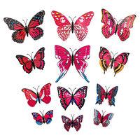 12 stk. Rosa dekorative 3D-Sommerfugler i papir til vegger
