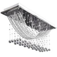 Hvit taklampe med glitrende glasskrystalperler 8 x G9 29 cm