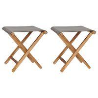 vidaXL Klappstoler 2 stk heltre teak og stoff mørkegrå
