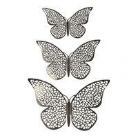 12 stk. 3D-Sommerfugler i metall, Veggdekorasjon - Sølvnetting