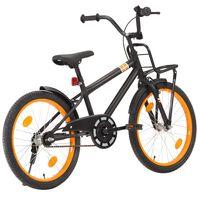 vidaXL Barnesykkel med bagasjebrett foran 20 tommer svart og oransje