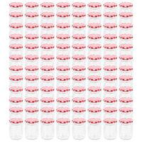 vidaXL Syltetøyglass med hvite og røde lokk 96 stk 230 ml
