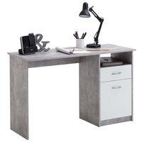 FMD Skrivebord med 1 skuff 123x50x76,5 cm betong og hvit