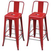 vidaXL Barstoler 2 stk rød stål