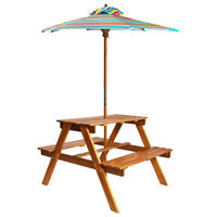 vidaXL Barnepiknikbord med parasoll 79x90x60 cm heltre akasie