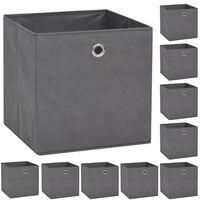 vidaXL Oppbevaringsbokser 10 stk ikke-vevet stoff 32x32x32 cm grå