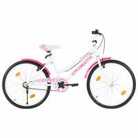 vidaXL Barnesykkel 24 tommer rosa og hvit
