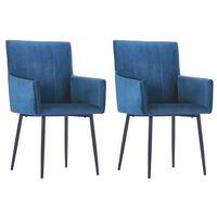 vidaXL Spisestoler med armlener 2 stk blå fløyel