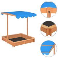 vidaXL Sandkasse med justerbart tak gran blå UV50