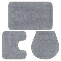 vidaXL Baderomsmattesett 3 stk stoff grå
