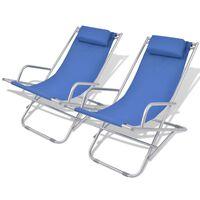 vidaXL Tilbakelente fluktstoler 2 stk stål blå
