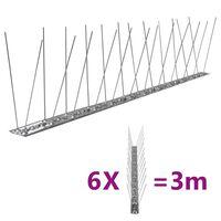 vidaXL Fuglepigger 2-rader 6 stk rustfritt stål 3 m