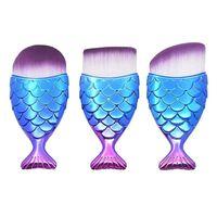 3x Sminkebørster, Mermaid - Blå, lilla