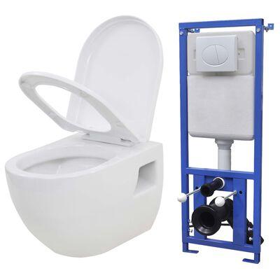 vidaXL Vegghengt toalett med skjult sisterne keramikk hvit