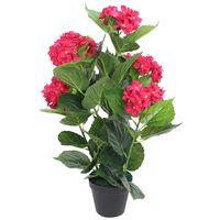 vidaXL Kunstig hortensia med potte 60 cm rød