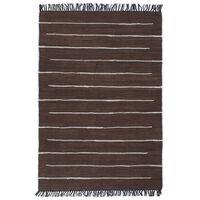 vidaXL Håndvevet Chindi teppe bomull 120x170 cm brun