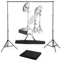 vidaXL Fotostudiosett med lyssett og bakgrunn