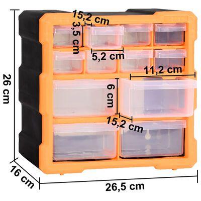 vidaXL Sortimentskap med 12 skuffer 2 stk 26,5x16x26 cm