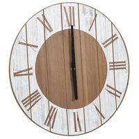 vidaXL Veggklokke brun og hvit 39,5 cm MDF