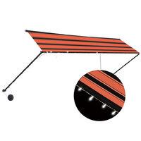 vidaXL Uttrekkbar markise med LED 400x150 cm oransje og brun