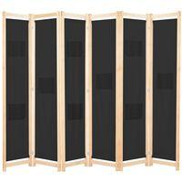 vidaXL Romdeler 6 paneler svart 240x170x4 cm stoff