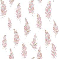 Urban Friends & Coffee Veggtapet fjær hvit og rosa
