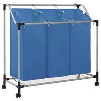 vidaXL Skittentøyskurv med 3 poser blå stål