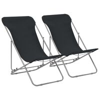 vidaXL Sammenleggbare strandstoler 2 stk stål og oxfordstoff svart