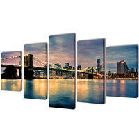 Kanvas Flerdelt Veggdekorasjon Brooklyn Bridge Elveutsikt 100 x 50 cm