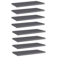 vidaXL Hylleplater 8 stk høyglans grå 40x20x1,5 cm sponplate
