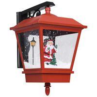 vidaXL Veggmontert julelampe med LED-lys og julenisse rød 40x27x45 cm