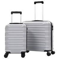 vidaXL Hardplast trillekoffert sett 2 stk sølv ABS