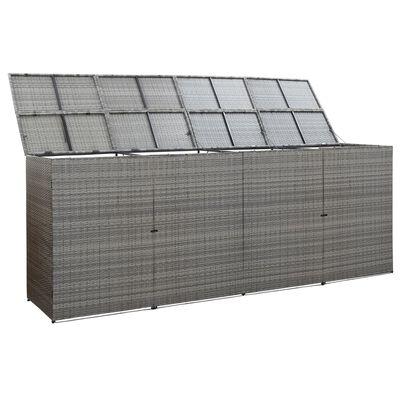 vidaXL Søppeldunkskur firedobbel antrasitt 305x78x120 cm polyrotting