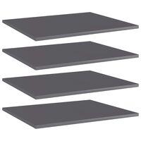vidaXL Hylleplater 4 stk høyglans grå 60x50x1,5 cm sponplate