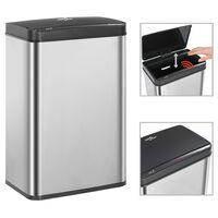 vidaXL Automatisk søppelbøtte med sensor sølv og svart rustfritt stål 60L