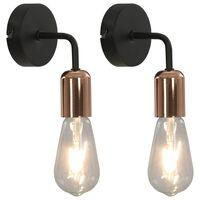vidaXL Vegglamper 2 stk med glødelamper 2 W svart og kobber E27