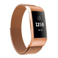 Fitbit Charge 3/4 armbånd Milanese loop - rosegull - S