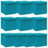 vidaXL Oppbevaringsbokser med lokk 10 stk babyblå 32x32x32 cm stoff
