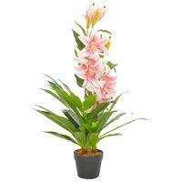 vidaXL Kunstig plante lilje med potte rosa 90 cm