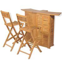 vidaXL Bistrosett med brettbare stoler 3 deler heltre teak